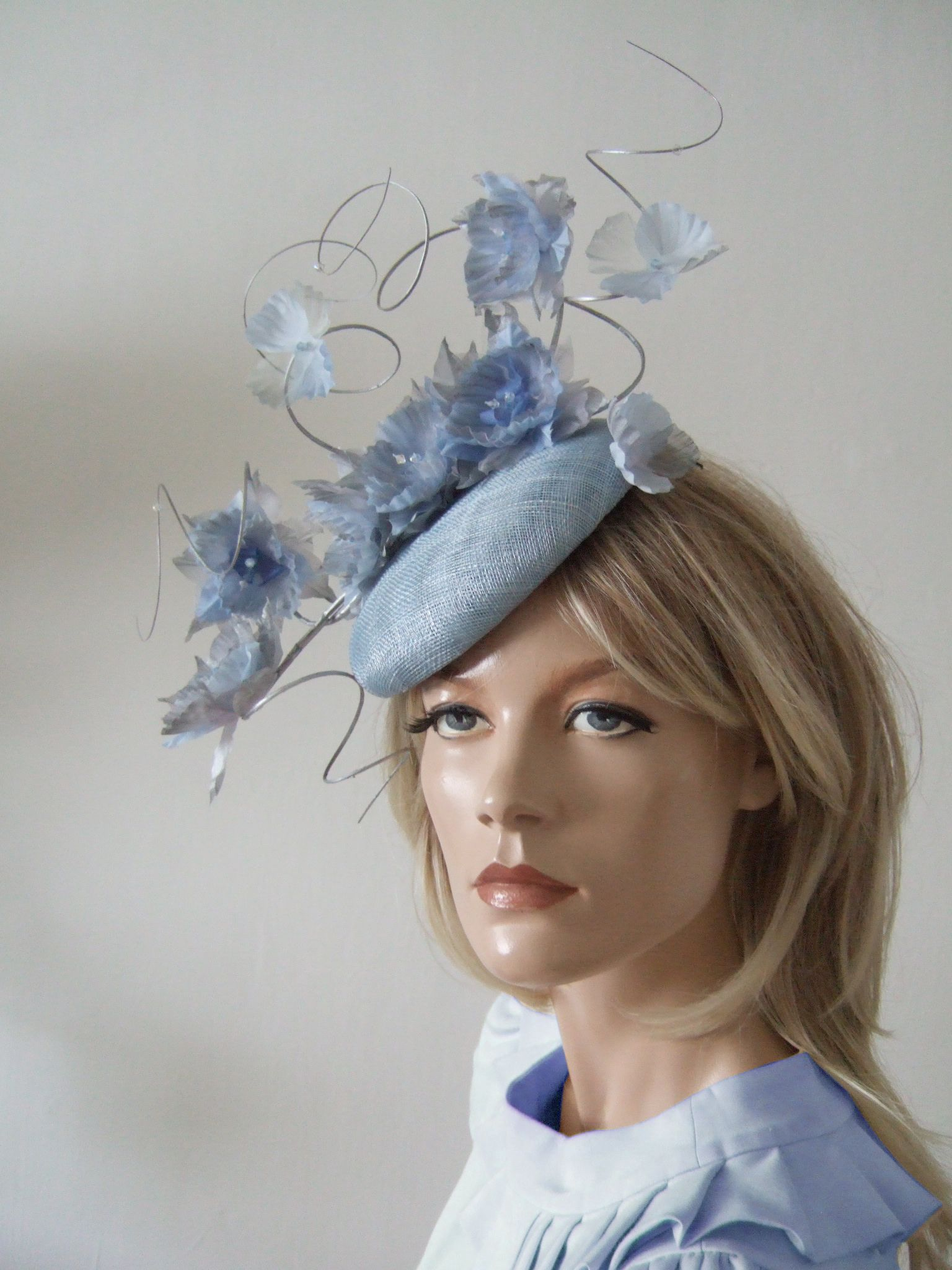 721f162699dfc Cornflower Baby Blue Silver Fasciniator Headpiece Kentucky Derby Hats. Royal  Ascot Hat with Flowers.